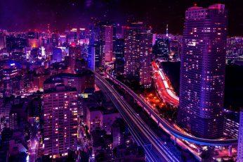 City lights wallpaper, shiodome city center, japan, tokyo, minato, sky