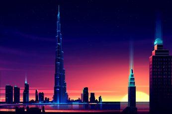Night sky wallpaper, illustration, futuristic art, tower block, artwork