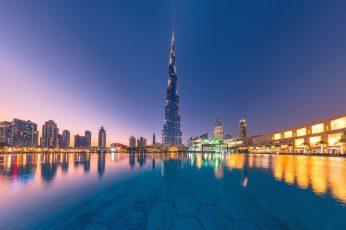 Water wallpaper, reflection, building, Dubai, night city, skyscraper