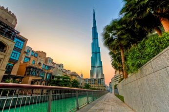 Dubai wallpaper, United Arab Emirates, evening, burj khalifa