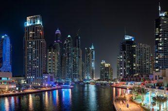 8k uhd wallpaper, dubai marina, cityscape, skyscrapers, metropolis, skyline