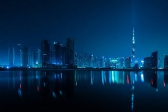 Dubai skyline wallpaper, city, cityscape, blue, night, United Arab Emirates