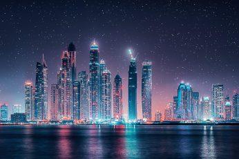 High-rise buildings at night photography wallpaper, tower block, illuminating