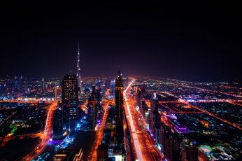 Dubai wallpaper, city lights, cityscape, metropolitan area, burj khalifa