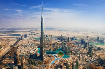 Burj Khalifa wallpaper, UAE, top view of black building at the city, Dubai