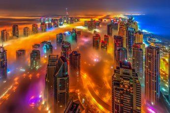 Tower block wallpaper, uae, united arab emirates, cotton candy, dubai marina