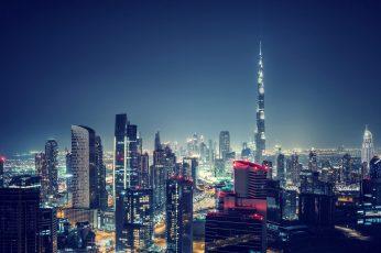 Night wallpaper, 5k, city lights, uae, nited arab emirates, dubai, downtown