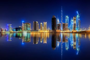 Dubai wallpaper, city lights, 8k, uae, downtown, water, united arab emirates