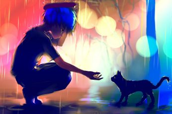 Boy in the rain about to hold the cat digital wallpaper, blue haired anime boy painting