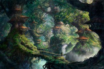 Fantasy wallpaper, Wizard, Forest, Digital Art
