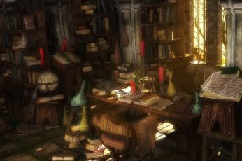 Brown wooden desk with books near window digital wallpaper, library
