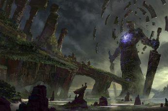 Gray statue wallpaper, movie scene, colossus, fantasy art, landscape