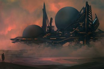 Black and blue spaceship digital wallpaper, digital art, science fiction
