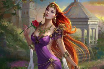 Fantasy girl wallpaper, fantasy art, women, artwork, long hair, people