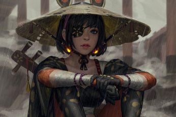 Women wallpaper artwork, warrior, painting, fantasy art, GUWEIZ, fan art