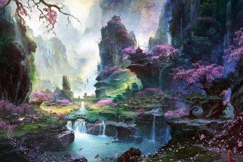 Cherry blossoms tree near waterfall wallpaper, woodland stream illustration