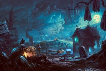 Black haunted house digital wallpaper, artwork, fantasy art, Halloween