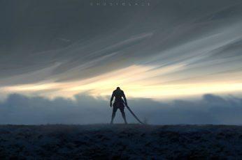 Person holding sword wallpaper, WLOP, Ghost Blade, warrior, men