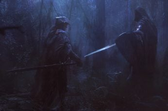 Two knights surrounded by trees digital wallpaper, artwork, fantasy art