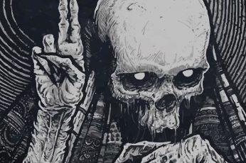 Skeleton illustration wallpaper, gray skeleton illustration, death, skull