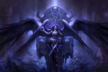 Fantasy art wallpaper, artwork, throne, sword, skull, spooky, digital composite