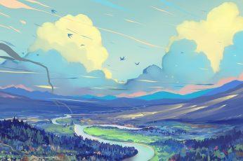 Digital art wallpaper, digital painting, fantasy art, fantasy landscape