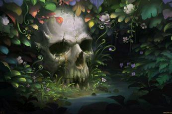 Gray skull wallpaper, fantasy art, plants, artwork, no people
