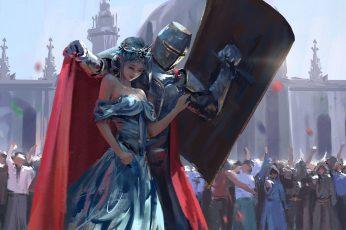 Knight armor and woman digital wallpaper