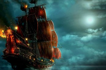 Black and red pirate ship wallpaper, pirates, night, sailing ship