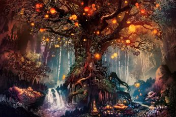 Tree wallpaper, fantasy art, artwork, fan art, trees, nature