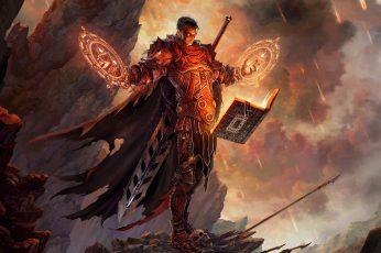Wizard Book Magic Warrior HD fantasy wallpaper