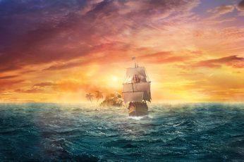 Sailing ship during golden hour wallpaper
