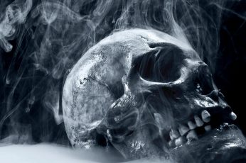 Skull wallpaper, artwork, digital art, smoke, spooky