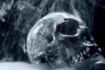 Skull wallpaper, artwork, digital art, smoke, spooky