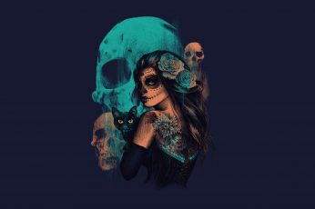 Teal skull and woman wallpaper, women, Sugar Skull, artwork