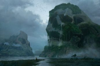 Skull island wallpaper, artwork, fantasy art, nature, water