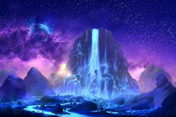 Mountain and waterfall wallpaper, digital art, fantasy art