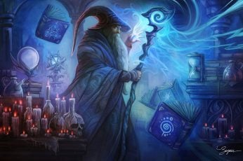 Fantasy wallpaper, Wizard, Book, Candle, Magic, Man, Skull