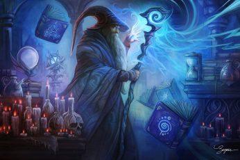 Fantasy wallpaper, Wizard, Book, Candle, Magic, Man, Skull