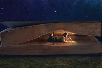 Woman reading book optical illusion painting wallpaper, fantasy art, artwork