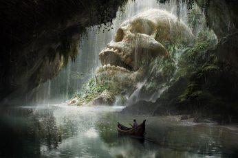 Skull island character riding boat game application wallpaper