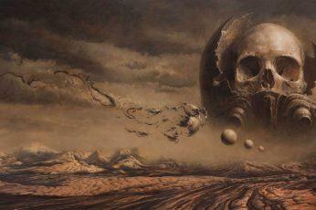 Gray skull wallpaper, fantasy art, artwork, dark fantasy, sky