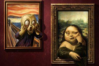 Mona lisa wallpaper, painting, edvard munch, scream, leonardo da vinci