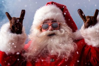 Funny wallpaper, santa claus, devil horns hand, devil horns hands, sign