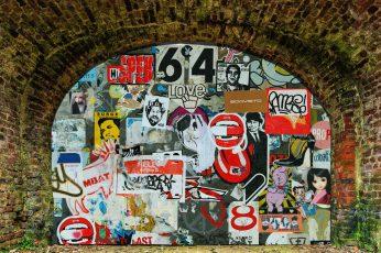 Graffiti wallpaper, door, design, old, urban, vintage, artistic, culture