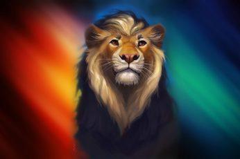 Lion wallpaper, artwork, digital art, colorful, animals, animal themes