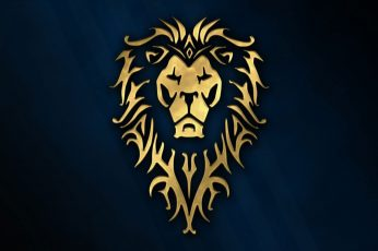 Gold lion logo wallpaper, cinema, golden, game, Warcraft, blue, wow, symbol