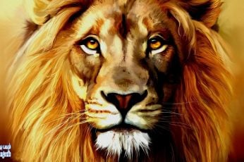 Brown and black lion painting wallpaper, artwork, animals, portrait, looking at camera