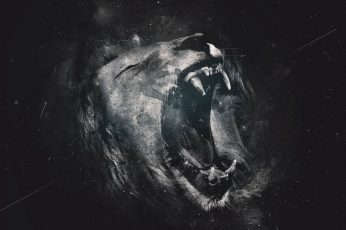 Lion illustration wallpaper, digital art, animals, artwork, one animal