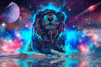 Artwork wallpaper, fantasy art, lion, animals, big cats, space, stars